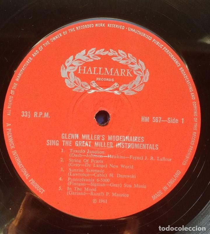 Discos de vinilo: Modernaires – Glen Miller's Modernaires Sings Great Miller Instrumentals - Foto 4 - 117466155