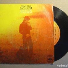 Discos de vinilo: MANOLO SANLUCAR - DUELO DE GUITARRAS + CAIRELES - SINGLE 1976 - CBS. Lote 117542963