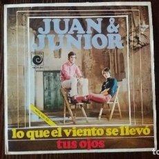 Discos de vinilo: JUAN & JUNIOR - LO QUE EL VIENTO SE LLEVÓ / SINGLE DE VINILO POP ESPAÑOL 1969. Lote 117656863