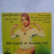 Discos de vinilo: JOSE GUARDIOLA * CANTA LOS EXITOS DEL FESTIVAL DE S. REMO 1963 *. Lote 117682403