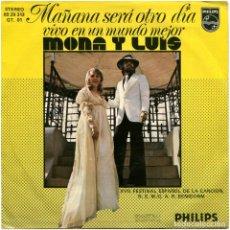 Discos de vinilo: MONA Y LUIS - MAÑANA SERÁ OTRO DÍA - SG SPAIN 1975 - PHILIPS 6029313 - BENIDORM. Lote 117715883