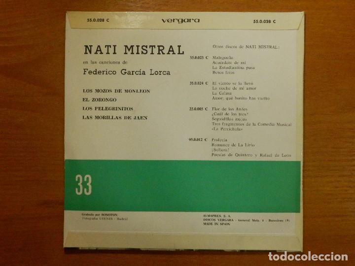 Discos de vinilo: Disco de Vinilo - EP - NATI MISTRAL - CANTA GARCIA LORCA - LOS MOZOS DE MONLEON - EL ZORONGO - Foto 2 - 118141187