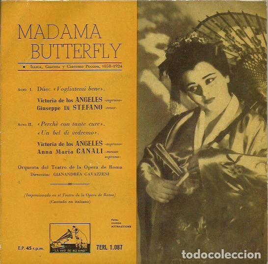 MADAMA BUTTERFLY. EP. SELLO LA VOZ DE SU AMO. EDITADO EN ESPAÑA. AÑO 1958 (Música - Discos de Vinilo - EPs - Clásica, Ópera, Zarzuela y Marchas)