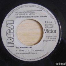 Discos de vinilo: LOS RELAMPAGOS - ABDERRAMAN + COVADONGA + JAIME I + LOS BARBAROS - SINGLE PROMO 1969 - RCA. Lote 244587455