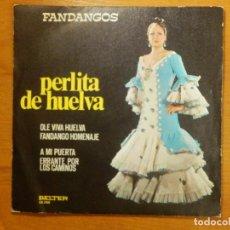 Discos de vinilo: DISCO VINILO - EP - PERLITA DE HUELVA - ÒLE VIVA HUELVA - FANDANGO HOMENAJE - A MI PUERTA. Lote 118279243