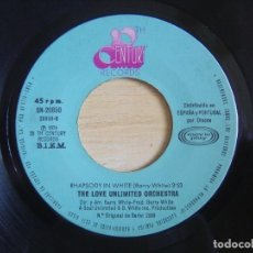 Discos de vinilo: THE LOVE UNLIMITED ORCHESTRA - LOVE´S THEME + RHAPSODY IN WHITE - SINGLE ESP. 1974 - 20 CENT. Lote 118360107