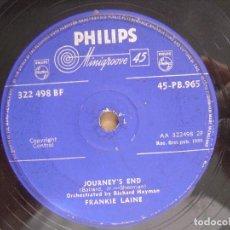 Discos de vinilo: FRANKIE LAINE RAWHIDE + JOURNEY´S END - SINGLE UK PHILIPS - 1959. Lote 118369535
