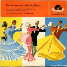 Discos de vinilo: HELMUT ZACHARIAS CON GRAN ORQUESTA DE BAILE – UN RAMILLETE DE VALSES DE STRAUSS - EP SPAIN 1958. Lote 118458935
