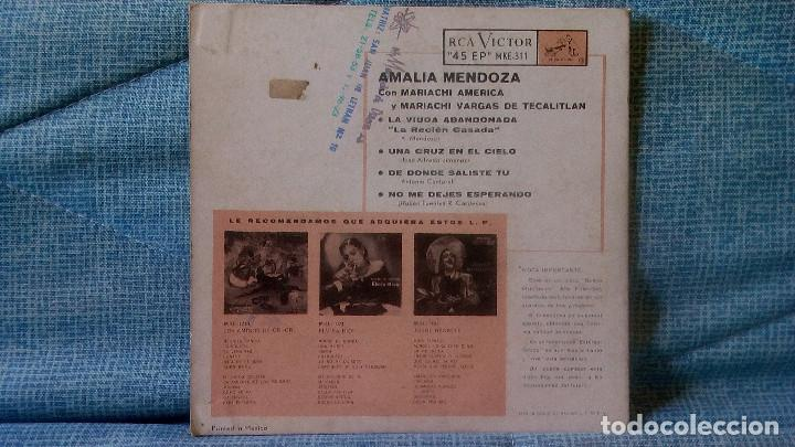 Discos de vinilo: AMALIA MENDOZA - LA VIUDA ABANDONADA + 3 - RCA VICTOR MKE-311 RARISIMA EDICION DE MEXICO - Foto 2 - 118471375