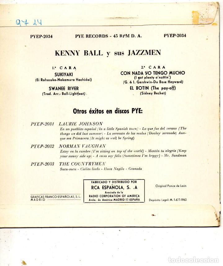 Discos de vinilo: KENNY BALL y sus Jazzmen, EP, SUKIYAKI + 3, AÑO 1963 - Foto 2 - 118564491