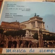 Discos de vinilo: MENDELSSOHN. SINFONÍA ITALIANA. HEINZ WAKLBERG. EDICIÓN EMI DE 1964. Lote 118589039