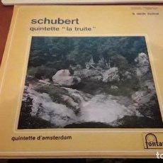 Discos de vinilo: SCHUBERT. QUINTETTE LA TRISTE. EDICIÓN FONTANA FRANCESA MUY RARA. Lote 118590231