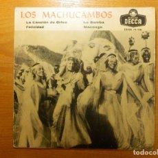 Discos de vinilo: DISCO DE VINILO - EP - LOS MACHUCAMBOS - LA CANCIÓN DE ORFEO - LA BAMBA - FELICIDAD - MACONGO - DECC. Lote 118599159
