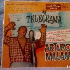 Discos de vinilo: ARTURO MILLAN - 1ER FESTIVAL DE LA CANCION ESPAÑOLA - UN TELEGRAMA + 3 GARCIA SEGURA - ALGUERÓ 1959. Lote 118700179
