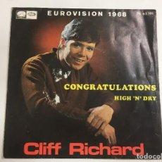 Discos de vinilo: CLIFF RICHARD EUROVISIÓN 1968 CONGRATULATIONS - HIGH N'DRY EMI REF. PL 63191 DE 1968. Lote 118746167
