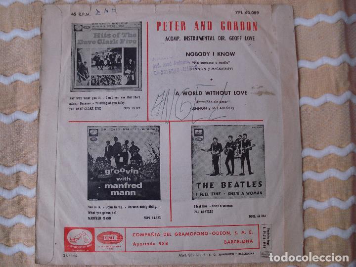 Discos de vinilo: PETER AND GORDON NOBODY I KNOW (BEATLES) SINGLE ESPAÑOL CON DISTINTA CONTRAPORTADA. - Foto 4 - 118811267