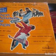 Discos de vinilo: BILL HALEY & THE COMETS - ROCK AROUND THE CLOCK **** RARO EP ESPAÑOL 1956, ED. PORTADA NARANJA!. Lote 118852139