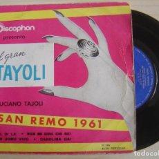 Discos de vinilo: LUCIANO TAJOLI - UN UOMO VIVO + CAROLINA DAY + AL DI LA + NON MI DIRE CHI SEI - EP SAN REMO 1961 - . Lote 118904659