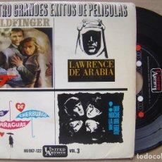 Discos de vinilo: CUATRO GRANDES EXITOS DE PELICULAS - 007 + QUE NOCHE LA DE AQUEL DIA - EP UNITED ARTIST - 1965. Lote 119060279