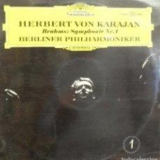 Discos de vinilo: BRAHMS SYMPHONIE N 1 - HERBERT VON KARAJAN - 1 DISCO COMO NUEVO *. Lote 119110779