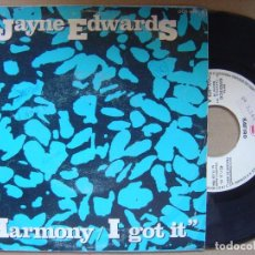 Discos de vinilo: JAYNE EDWARDS - HARMONY I GOT IT - SINGLE PROMOCIONAL ZAFIRO - 1984. Lote 119210891