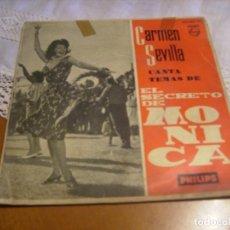 Discos de vinilo: EP : CARMEN SEVILLA : CANTA TEMA DE EL SECRETO DE MONICA : RARO EP. Lote 119333115