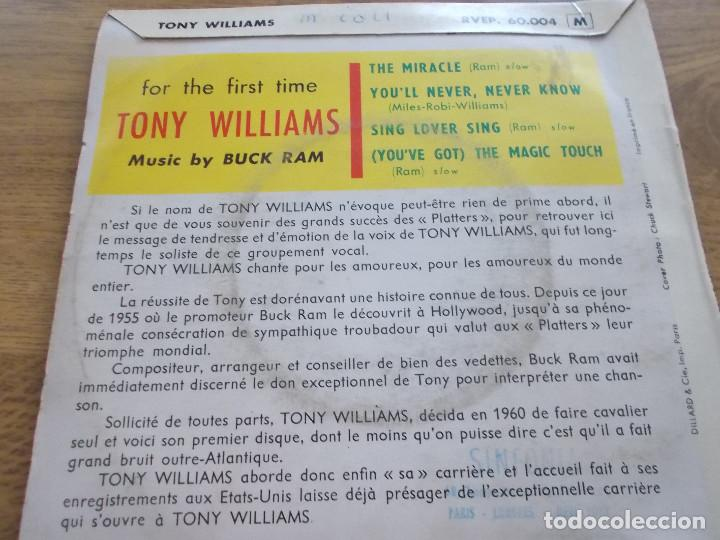 Discos de vinilo: TONY WILLIAMS. THE MIRACLE, YOU´LL NEVER,NEVER KNOW. SING LOVER SING. (YOU´VE GOT ) THE MAGIC TOUCH - Foto 2 - 119367187