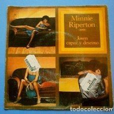 Discos de vinilo: MINNIE RIPERTON (SINGLE 1977) JOVEN CAPAZ Y DESEOSO - YOUNG WILLING AND ABLE. Lote 119393775