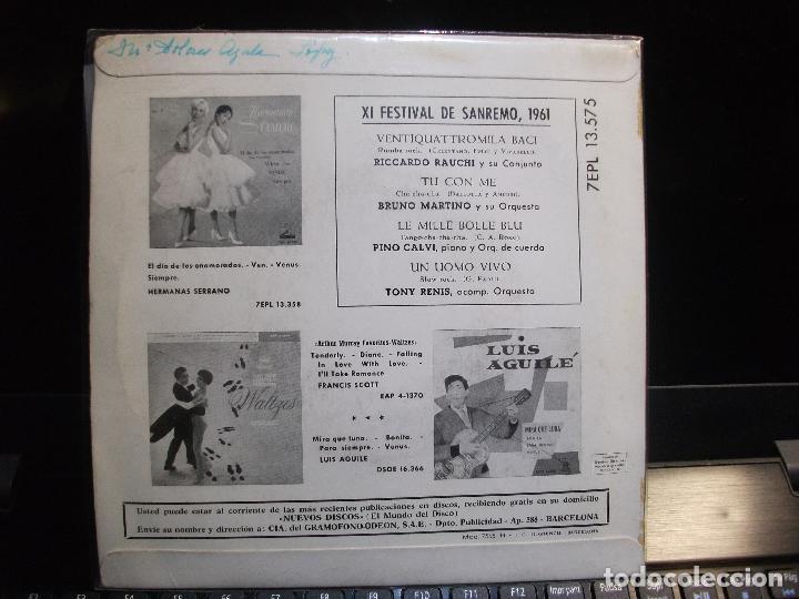 Discos de vinilo: VARIOS - XI FESTIVAL SAN REMO 1961 VETIQUATTROMILS BACI + 3 EP SPAIN 1961 PDELUXE - Foto 2 - 119478531