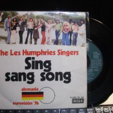 Discos de vinilo: THE LES HUMPHRIES SINGERS SING SANG SONG - EUROV.76 SINGLE SPAIN 1976 PDELUXE. Lote 119558919