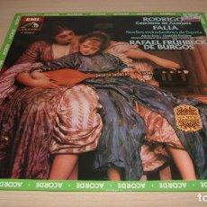 Discos de vinilo: ORQUESTA RAFAEL FRUHBECK DE BURGOS - LP - RODRIGO CONCIERTO ARANJUEZ - FALLA NOCHE EN LOS JARDINES . Lote 119565207