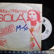 Discos de vinilo: MIA MARTINI SOLA SINGLE SPAIN 1973 PDELUXE. Lote 119573111