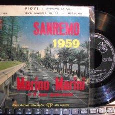 Discos de vinilo: MARINO MARINI E IL SUO QUARTETTO PIOVE - SAN REMO 1959 EP SPAIN 1959 PDELUXE. Lote 119573655