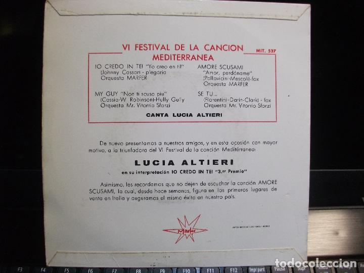 Discos de vinilo: LUCIA ALTIERI IO CREDO IN TE + 3 - 3º PREMIO. EP 1964 PDELUXE - Foto 2 - 119575151