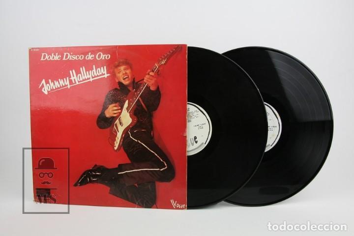 DOBLE DISCO LP DE VINILO - JOHNNY HALLYDAY / DISCO DE ORO - VOGUE - AÑO 1978 (Música - Discos - LP Vinilo - Canción Francesa e Italiana)