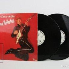 Discos de vinilo: DOBLE DISCO LP DE VINILO - JOHNNY HALLYDAY / DISCO DE ORO - VOGUE - AÑO 1978. Lote 119611027