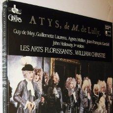 Discos de vinilo: ATYS DE M. DE LULLY - GUY DE MEY JOHN HOLLOWAY . LES ARTS FLORISSANTS - CAJA CON 2 DISCOS Y LIBRETOS. Lote 119666567