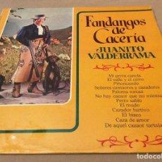 Discos de vinilo: FANDANGOS DE CACERIA - JUANITO VALDERRAMA. 1974.. Lote 119779563