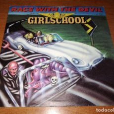 Discos de vinilo: GIRLSCHOOL - RACE WITH THE DEVIL SINGLE. Lote 119849975