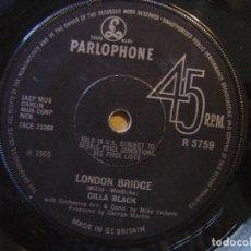 Discos de vinilo: CILLA BLACK - SURROUND YOURSELF WITH SORROW + LONDON BRIDGE - SINGLE UK PARLOPHONE - 1969. Lote 119885219