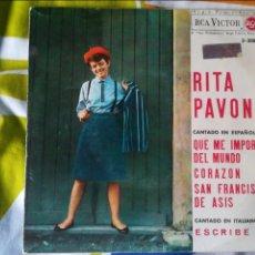 Discos de vinilo: RITA PAVONE EP QUE ME IMPORTA EL MUNDO. Lote 120242430