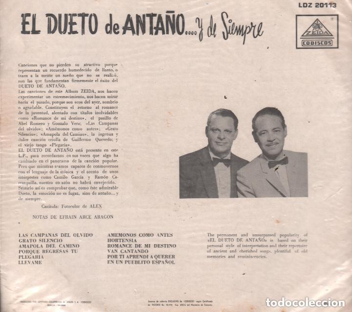 Discos de vinilo: EL DUETO DE ANTAÑO .. Y DE SIEMPRE / LP ZEIDA RF-5515 - Foto 2 - 120260835