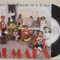 Discos de vinilo: NUMARX - GIRL YOU KNOW IT´S TRUE + S.P.E.N. - SINGLE PROMOCIONAL 1988 - BLANCO Y NEGRO. Lote 120321119