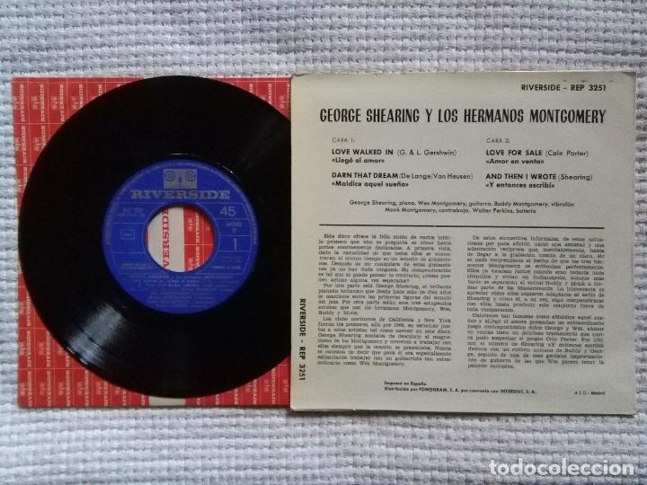 Discos de vinilo: GEORGE SHEARING WES MONTGOMERY - S/T EP 7 SPAIN MONO 1964 - Foto 2 - 120349331