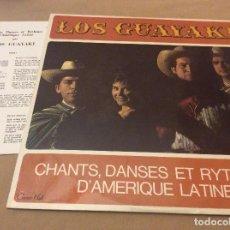 Discos de vinilo: LOS GUAYAKI-CHANTS, DANSES ET RYTHMES D'AMÉRIQUE LATINE. CONCERT HALL . ED FRANCESA. HOJA CON LETR.. Lote 120367143