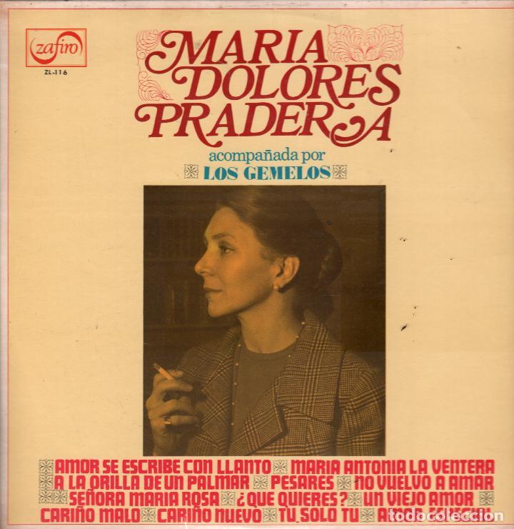 MARIA DOLORES PRADERA ACOMPAÑADA POR LOS GEMELOS / AMOR SE ESCRIBE CON LLANTO / LP DE 1973 RF-5663 (Música - Discos - LP Vinilo - Grupos y Solistas de latinoamérica)