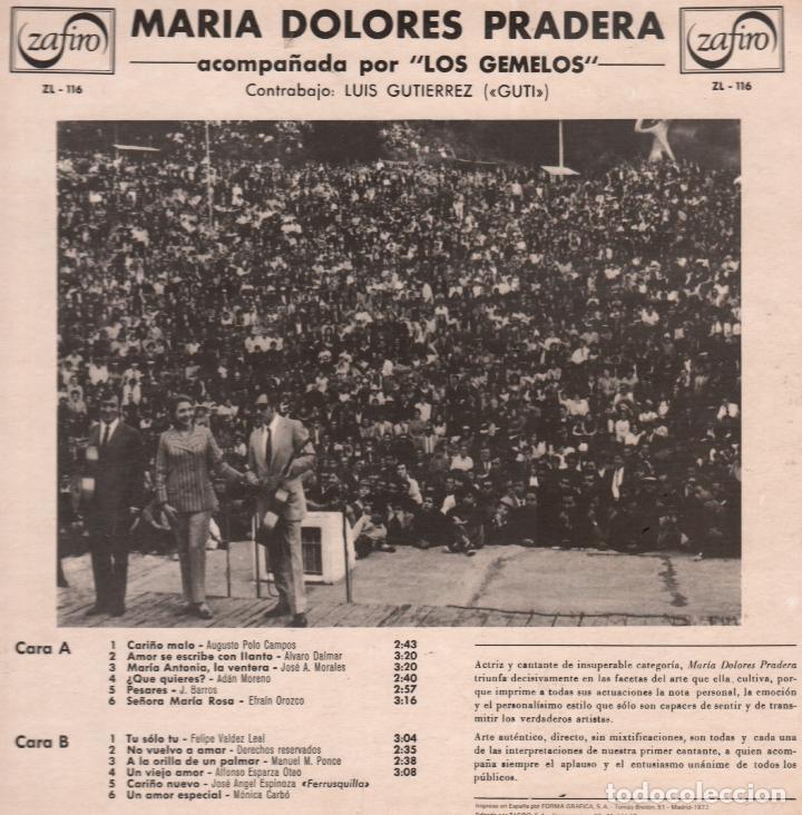 Discos de vinilo: MARIA DOLORES PRADERA ACOMPAÑADA POR LOS GEMELOS / AMOR SE ESCRIBE CON LLANTO / LP DE 1973 RF-5663 - Foto 2 - 120399747