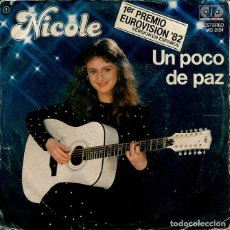 Discos de vinilo: NICOLE (EN ESPAÑOL) / UN POCO DE PAZ (EUROVISION '82) / THANK YOU, MERCI, DANKE (SNGLE 1982). Lote 154737605