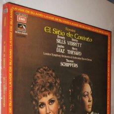 Discos de vinilo: EL SITIO DE CORINTO - ROSSINI - THOMAS SCHIPPERS - CAJA CON 3 DISCOS Y LIBRETO *. Lote 120446551