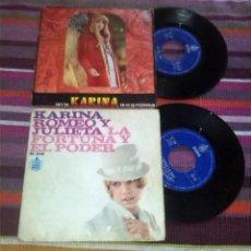 Discos de vinilo: KARINA 2 SINGLES: ROMEO Y JULIETA LA FORTUNA Y EL PODER TÚ Y YO YO TE SÉ PERDONAR HISPAVOX. Lote 120625191